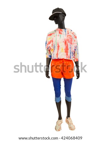 Full-length female mannequin wearing clothes for sport end rest. Isolated on white background. No brand names or copyright objects. - stock photo