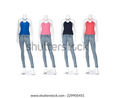 Full length female shirt in jeans on mannequin - stock photo