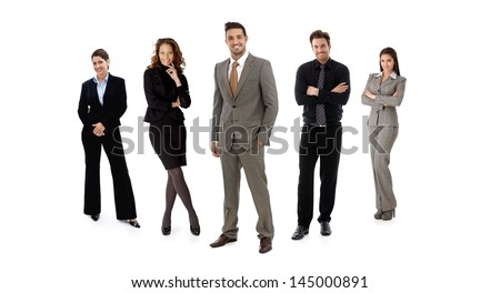 Full-length formal team portrait of businesspeople standing in line looking at camera, smiling. Isolated on white. - stock photo