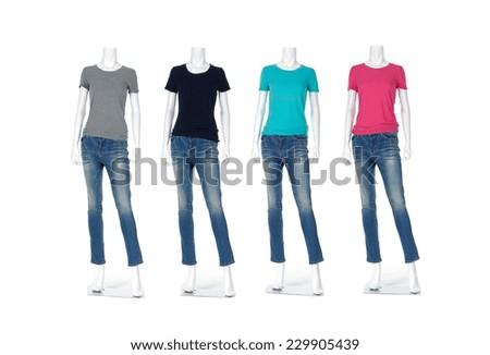 Full length four female shirt in jeans on mannequin - stock photo