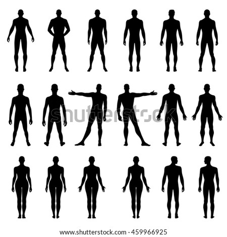 Full length front, back human silhouette illustration, isolated on white