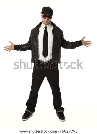Full length front view of young adult hip hop male on white background. - stock photo