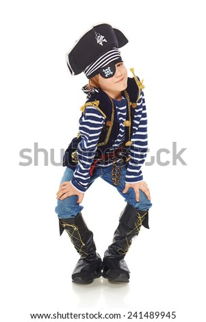 Full length grinning little boy wearing pirate costume, over white background - stock photo