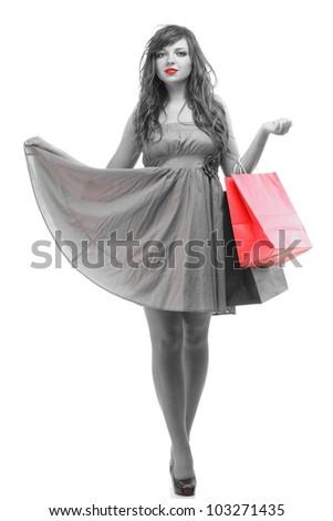 full length happy girl ginger with shopping bags  over white - stock photo