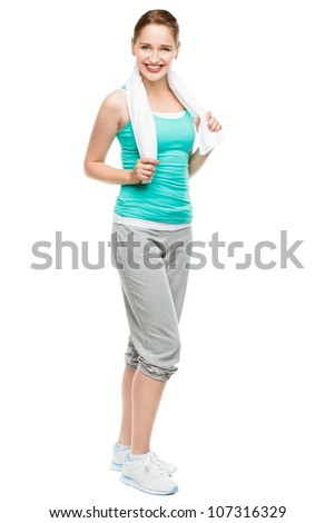 Full length happy young athlete woman isolated on white background - stock photo