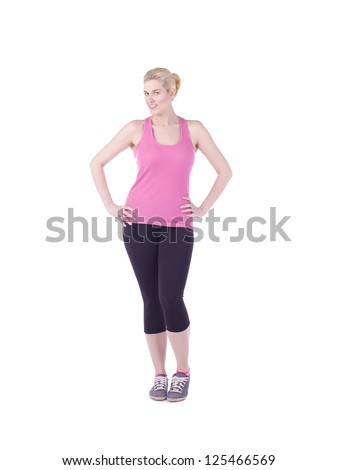 Full length image of a blond woman wearing her work out outfit