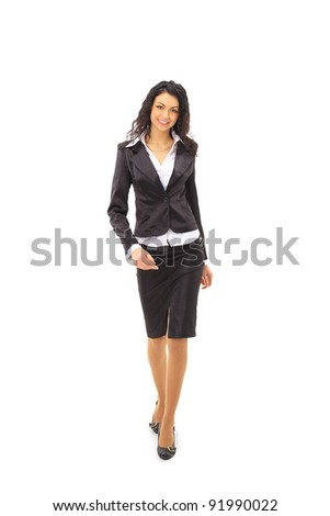 Full length image of a business woman going - stock photo