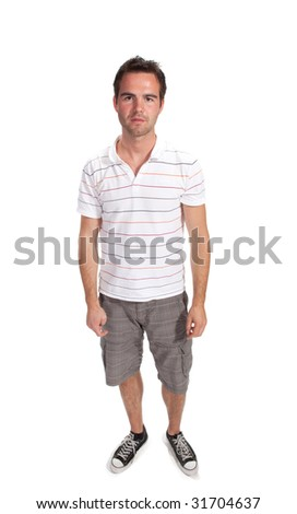 Full length image of a handsome male isolated over white background - stock photo