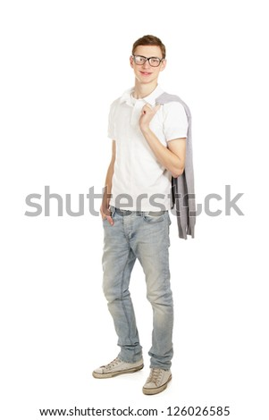 Full length image of a handsome young guy standing isolated against white - stock photo