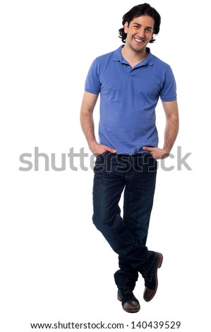 Full length image of a smart young man isolated on white - stock photo