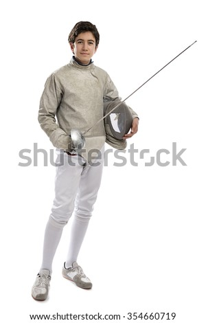 Full length image of a teen foil fencer isolated on white background.     - stock photo