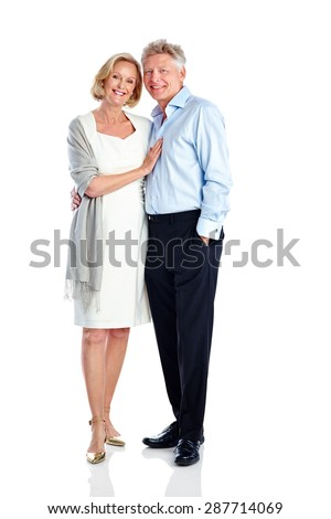 Full length image of beautiful mature couple standing together on white background - stock photo