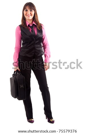 Full length image of confident business woman holding a briefcase - stock photo