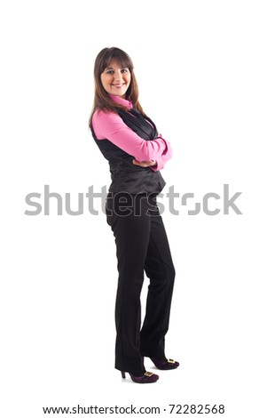 Full length image of confident business woman with hands folded over white background - stock photo