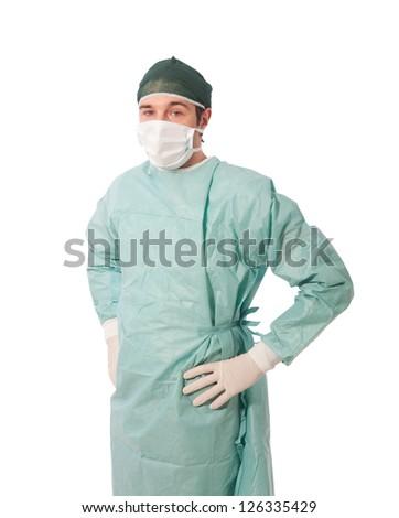 Full length image of doctor in medical scrubs on white backgroun - stock photo