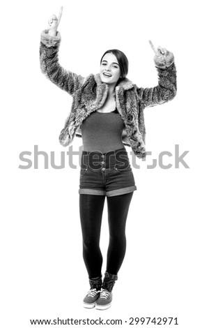 Full length image of teen girl dancing  - stock photo