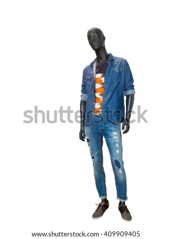 Full length male mannequin dressed in blue denim shirt and jeans, isolated on white. No brand names or copyright objects. - stock photo