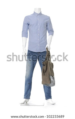 Full length male mannequin in blue jeans with handbag