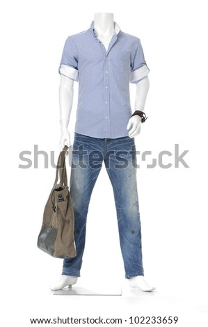 Full length male mannequin in jeans with bag