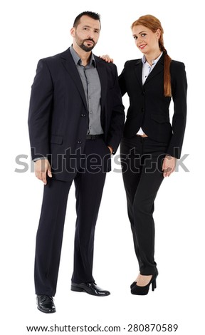 Full length of a business couple isolated on white background - stock photo