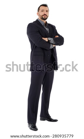 Full length of a confident good looking businessman with arms folded isolated on white background - stock photo