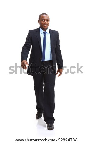 Full length of a confident young African American business man standing on white - stock photo