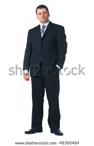 Full length of a confident young business man standing against white with one hand in his pocket - stock photo