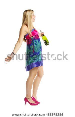 Full length of a drunk caucasian woman over white background