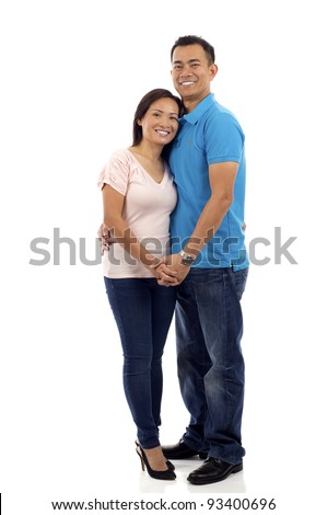 Full length of a happy Asian couple isolated over white background - stock photo