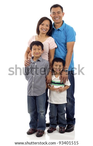 Full length of a happy Asian family of four standing isolated over white background - stock photo
