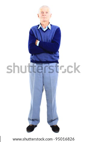 Full length of a happy senior man standing confidently on white background