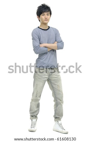 Full length of a happy young guy standing isolated