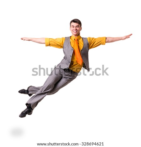 Full length of a jumping business man isolated on white background - stock photo