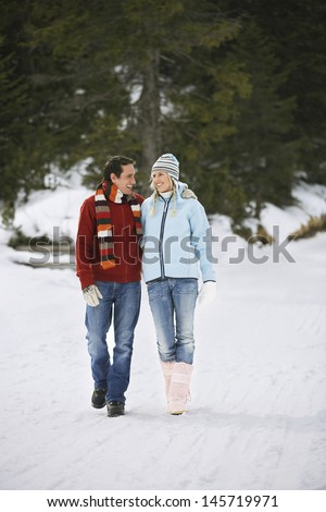 Full length of a loving couple walking on snow covered path - stock photo