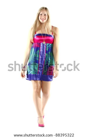 Full length of a model practicing catwalk on isolated background - stock photo