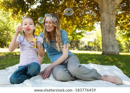 Full length of a smiling mother with her daughter blowing soap bubbles at the park - stock photo