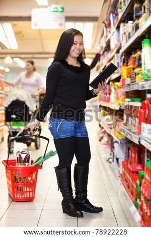 Full length of a woman with shopping basket holding tablet pc in shopping store - stock photo