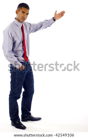 Full length of a young confident African American / Hispanic Latin mixed business man doing a presentation over white background - stock photo