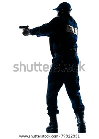 Full length of an Afro American police officer aiming a handgun on white isolated background - stock photo