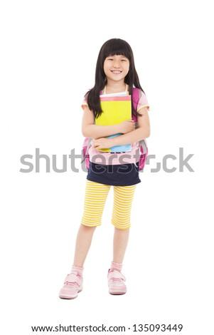 full length of asian little girl standing and holding books - stock photo