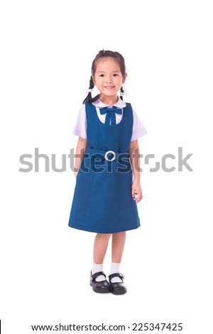 full length of asian school girl standing, isolated on white - stock photo