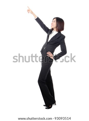 Full length of attractive business woman point something by finger isolated on white background, model is a asian beauty - stock photo