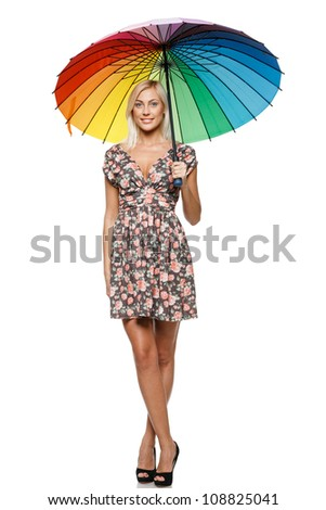 Full length of beautiful blond female in summer dress standing under umbrella over white background - stock photo