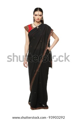 Full length of beautiful female wearing traditional indian costume, isolated on white background - stock photo