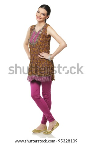 Full length of beautiful female wearing traditional indian costume isolated on white background - stock photo