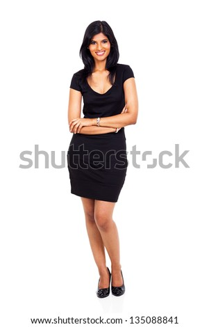 full length of beautiful indian  businesswoman with arms crossed on white - stock photo