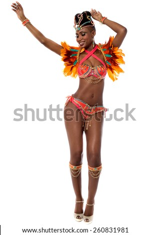 Full length of beautiful samba dancer - stock photo