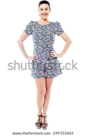 Full length of beautiful woman in trendy wear - stock photo