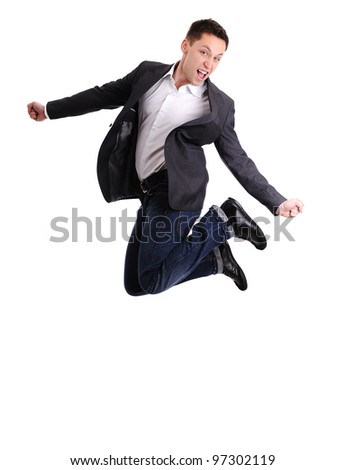 Full length of business man jumping in joy