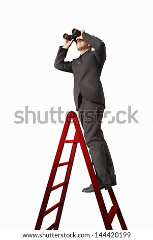 Full length of businessman on ladder looking through binoculars isolated on white background - stock photo